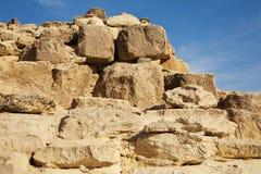 La costruzione egiziana della piramide dettaglia Gizeh, Cairo Immagine Stock