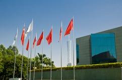 La costruzione moderna della sala da concerto di Xinghai e la musica quadrano nella città di Canton, il paesaggio urbano della Ci Fotografia Stock Libera da Diritti