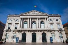 La costruzione storica del comune nel distretto di Baixa, Lisbona, Portu immagini stock libere da diritti