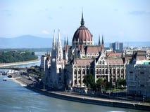La costruzione ungherese del Parlamento Fotografie Stock Libere da Diritti