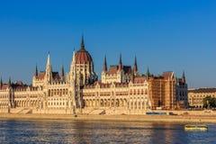La costruzione ungherese del Parlamento, Budapes, Unione Europea Fotografie Stock Libere da Diritti