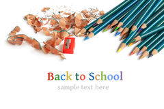 La couleur crayonne des copeaux Photographie stock libre de droits