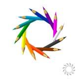 La couleur crayonne le cadre D'isolement sur le fond blanc Colorf de vecteur Image libre de droits
