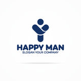 La couleur cuan de logo humain heureux avec l'homme de silhouette avec des mains lèvent les FO Image stock