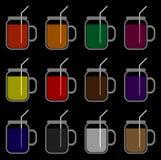 La couleur de la boisson dans un verre unique illustration stock