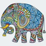 La couleur de vecteur a décoré l'éléphant d'Asie illustration de vecteur