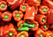La couleur des poivrons verts rouges et chauds doux Image libre de droits