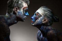 La couleur fait face à l'art images stock