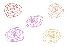 La couleur multi a monté des contours sur un fond blanc illustration stock