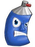 La couleur numérique de peinture pulvérisent le visage cruel de bande dessinée bleu illustration stock