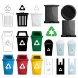 La couleur réutilisent l'illustration de poubelle Illustration de Vecteur