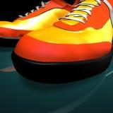 La couleur rouge chausse le drumm et la basse Photos libres de droits