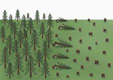 La coupe d'un paysage de forêt de pin, de grands arbres et beaucoup de tronçons, dirigent horizontal illustration stock