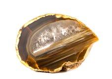 La coupe de pierre gemme d'agate, se ferment d'isolement sur le fond blanc Photo libre de droits