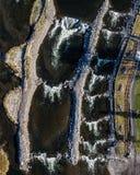 La courbure, parc de l'Orégon Whitewater - vue de haut en bas images libres de droits