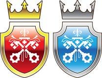 La couronne bleue rouge de bouclier royal a croisé le logo de clés Photographie stock