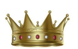 La couronne d'or avec des diamants et les rubis dirigent illustration de vecteur