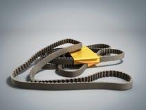 la courroie 3d de moteur de voiture de ceinture de concept de worck de réparation rendent sur le GR Image libre de droits