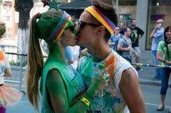 La course de couleur est une course accueillie mondiale d'amusement Image stock