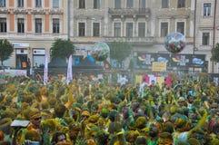 La course de couleur est une course accueillie mondiale d'amusement Image libre de droits