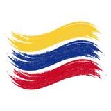 La course grunge de brosse avec le drapeau national de la Colombie a isolé sur un fond blanc Illustration de vecteur illustration stock