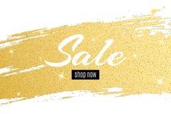 La couverture d'or avec le texte à vendre d'or scintille Ligne grunge tirée par la main Tache d'or Calomnie brillante Fond de lux Photos stock