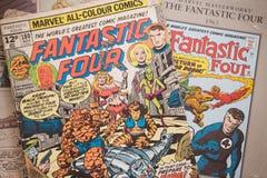 La couverture de bande dessinée quatre fantastique a édité par des bandes dessinées de merveille photographie stock libre de droits