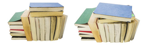 La couverture souple a employé le collage d'isolement empilé par livres de poche photographie stock libre de droits
