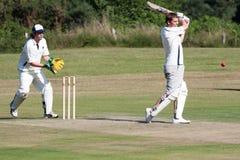 LA COVATA DI COLEMAN, SUSSEX/UK - 27 GIUGNO: Cricket del villaggio che è gioco fotografia stock