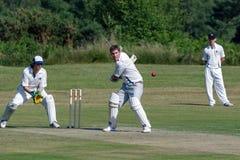 LA COVATA DI COLEMAN, SUSSEX/UK - 27 GIUGNO: Cricket del villaggio che è pla fotografia stock
