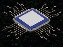 La CPU en la red 3d de la tecnología del grenn rinde Imagen de archivo libre de regalías