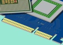 La CPU et les GPU sont sur le videocard. Image libre de droits