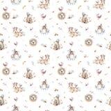 La crèche d'animaux de bébé a isolé le modèle sans couture avec des bannies Renard mignon de bébé de boho d'aquarelle, lapin anim images libres de droits