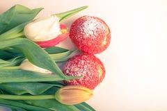 La crème anglaise faite maison durcit avec de la crème et le groupe de tulipes de ressort dessus Photographie stock libre de droits