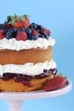 La crème et les baies fouettées fraîches posent le gâteau mousseline - verticale Images libres de droits