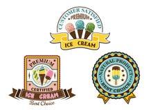 La crème glacée badges et des labels Photographie stock libre de droits