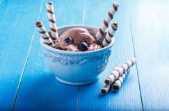 La crème glacée de chocolat avec les myrtilles et la gaufrette roule Photos stock
