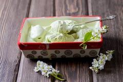 La crème glacée de pistache dans un grand récipient, cerise d'oiseau fleurit image libre de droits