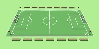 La création d'un terrain de football illustration 3D Images libres de droits