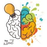 La créativité analytique d'idée d'ampoule d'esprit humain d'esprit illustration stock