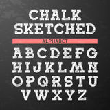 La craie a esquissé la police, alphabet Image libre de droits