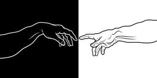 La creación de Adán (fragmento blanco y negro) libre illustration