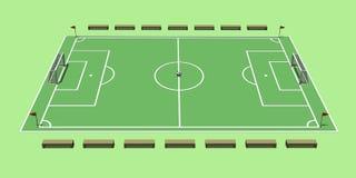 La creación de un campo de fútbol ilustración 3D Imágenes de archivo libres de regalías