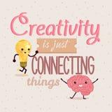 La creatividad apenas está conectando diseño del cartel de las citas de las cosas Foto de archivo