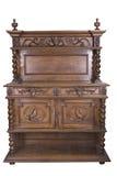 La credenza di legno del XIX secolo con gli oggetti d'annata in ha isolato Fotografia Stock Libera da Diritti