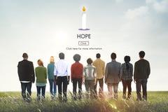 La creencia de la esperanza cree se imagina el rogar de concepto del templo de la confianza Imágenes de archivo libres de regalías