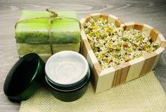 La crema cosmetica per cura e la margherita del fronte fiorisce il sapone natual Immagini Stock Libere da Diritti