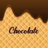La crema del chocolate derritió en fondo de la oblea stock de ilustración