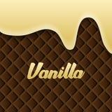La crema della vaniglia si è fusa sul fondo del wafer royalty illustrazione gratis