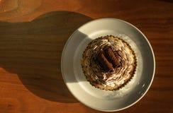 La crema y el chocolate blancos de la magdalena ruedan con el polvo del chocolate adentro Foto de archivo